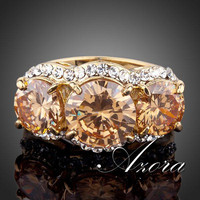 AZORA Sparkling 18K Real Gold Plated 3pcs Gold Colour Stellux Austrian Crystal Ring TR0081