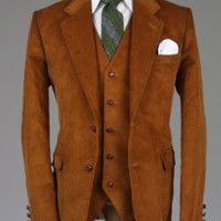 Cordifornia Handmade Slim Fit 3 Piece Suit RUST All Sizes Monkey Suits
