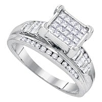 Sterling Silver Women's Princess Diamond Square Cluster Bridal Wedding Engagement Ring 1/3 Cttw