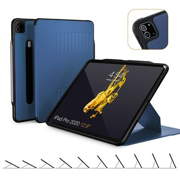 ZUGU CASE (New Model) Alpha Case for 2020 iPad Pro 12.9 inch - Ultra Slim Protective Case - Wireless Apple Pencil Charging - Convenient Magnetic Stand & Sleep/Wake Cover (Navy Blue) Navy Blue