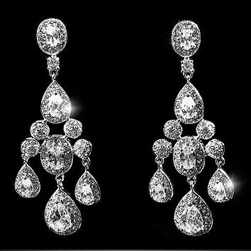 Armania Clear Chandelier Earrings | 51mm