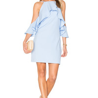 Endless Rose Flared Ruffle Dress in Powder Blue