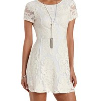 Ivory Embroidered Open Back Skater Dress by Charlotte Russe