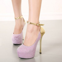 Fashion Round Closed Toe Patchwork Buckle Design Stiletto Super High Heel Silver PU Ankle Strap Pumps