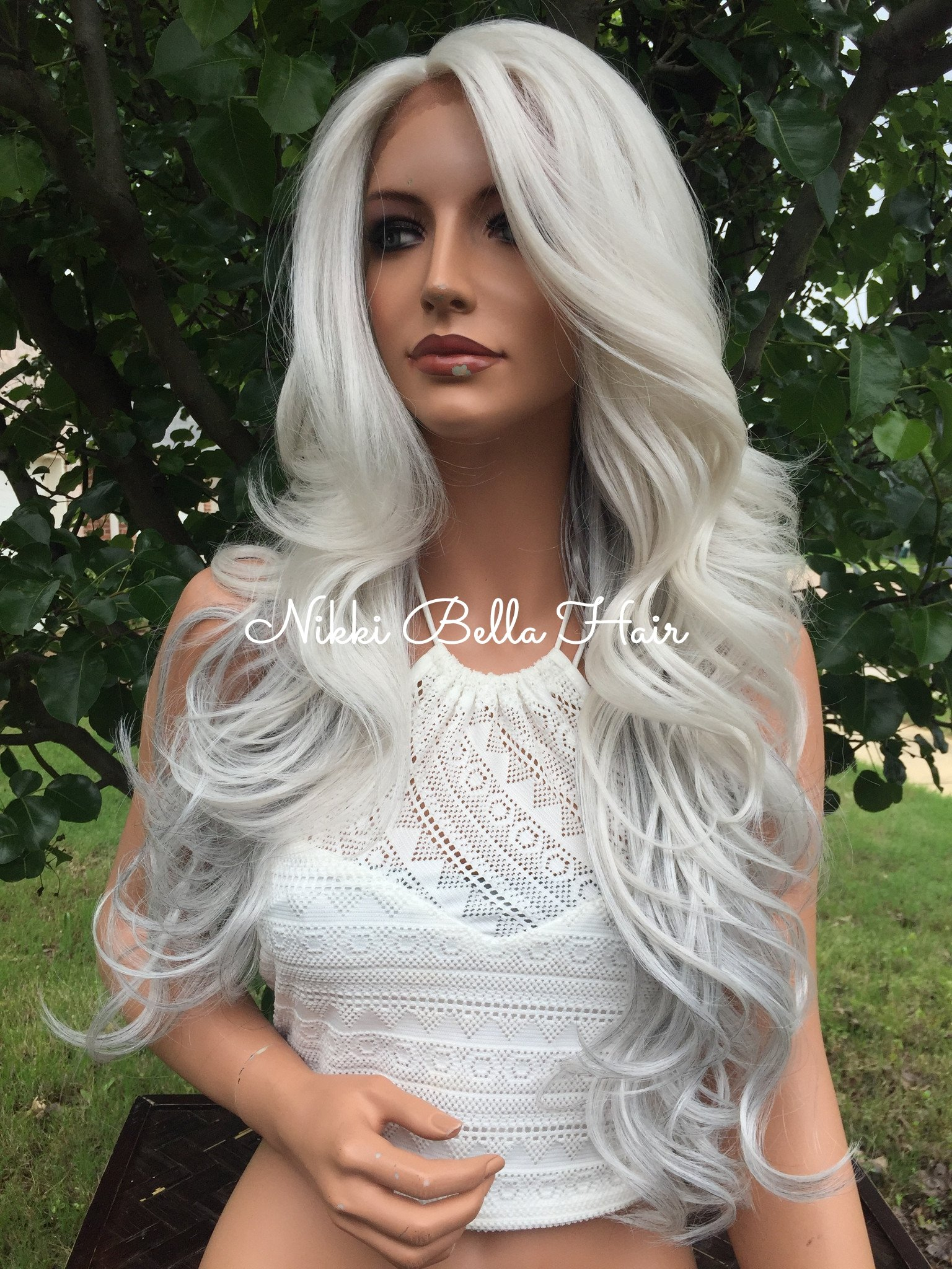 """Image of Grey Silver 24"""" Human Hair Blend Multi Parting Lace Front Wig"""