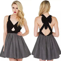Casual Strappy Cut Out Ribbon Back Flounce Mini Skater Dress