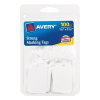 Avery White Strung Marking Tags, 1.75 x 1.09 Inches, Pack of 100 (6732)