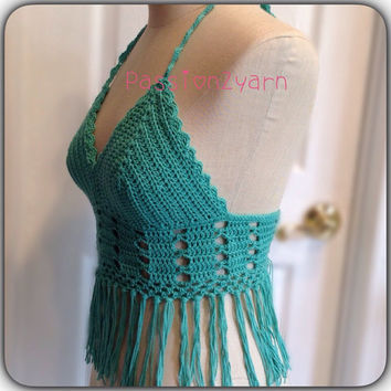 Crochet passion2yarn turquoise fringe top,crochet halter top,crochet crop rop , festival to made to order top,hippie top ,