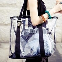 Korean Transparent Beach One Shoulder Crystal Sweets Bags [6582699015]