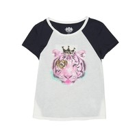 Angel / Regal Pink Tiger Colorblocked Graphic Tee by Juicy Couture,