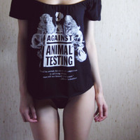 against animal testing offshoulder beautiful shirt by MoonEuphoria