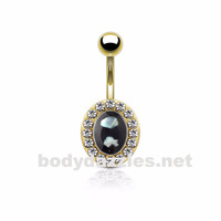 Shell Center and Crystals Around Oval Gold Over Sugical Steel Belly Button Navel Rings