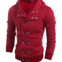 Casual Men Hooded Double Breasted Plain Coat