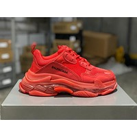 Balenciaga Triple S Clear Sole Trainers Red Sneakers
