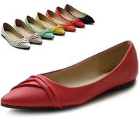 ollio Womens Shoes Ballet Dress Pleated Pointed Toe Multi Color Flats
