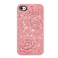 Pink Rose Embossing Design Case for iPhone 4/4S
