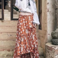 Yellow Floral Draped Swallowtail High-Low Beach Party Bohemian Gypsy Skirt