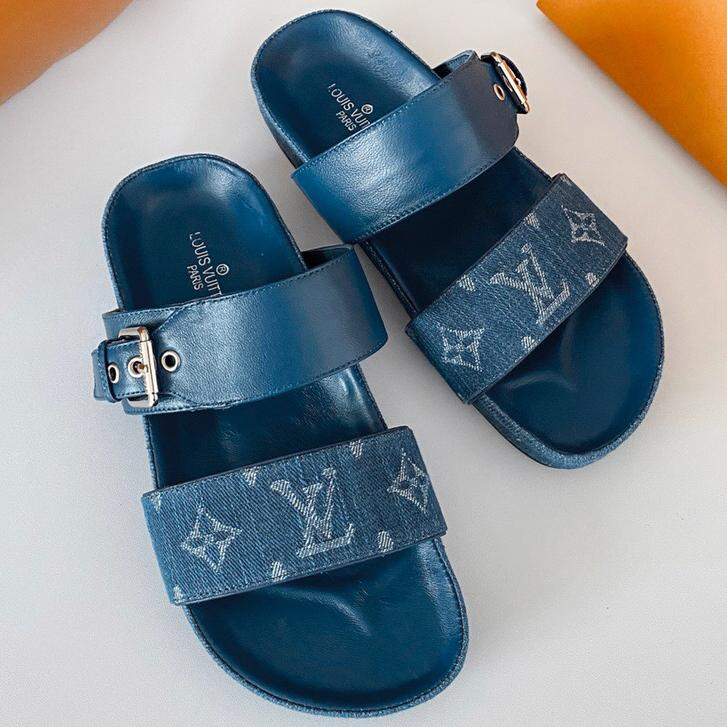 Image of LV New fashion monogram shoes flip flop slippers Blue