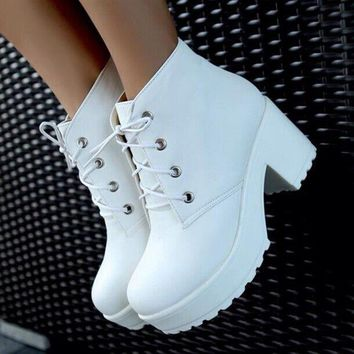 Fashion Strappy Waterproof Chunky High Heels Shoes