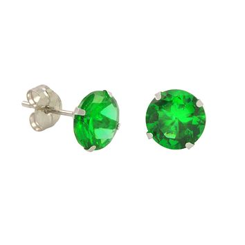 10k White Gold Green Emerald CZ Stud Earrings Cubic Zirconia Round Prong Set
