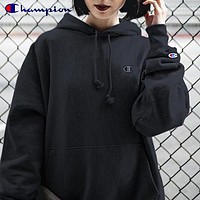Champion Women Men Personality Embroidery Long Sleeve Hoodie Sweater Sweatshirt