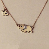Golden Elephant Family Necklace