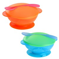 Baby Sucker Bowl Spoon Set Kids Toddler Baby Feeding Set Training Bowls Non-slip Food Container For Baby Kids Feeder