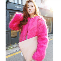 Imitation fur coat brief paragraph flush coat Roses