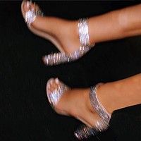 Chunky heel sequins open-toe high-heeled sexy women's sandals white silver