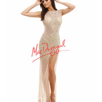 Sparkling Nude Sexy High Slit Dress