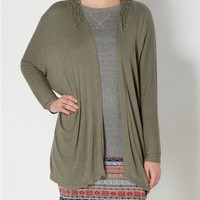 Olive Crochet Knit Cardigan By Clover & Scout®