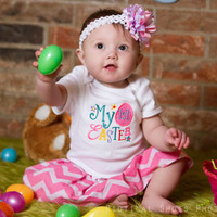 Baby Girls first Easter Outfit Bodysuit and Skirt and headband Bow - can be Personalized with Name -Short Sleeve Bodysuit & Skirt