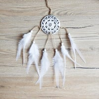 White Dream Catcher, White Dreamcatcher, Bohemian Decor, Natural Dreamcatcher, Boho Wall Decor, Boho Home Decor, Christmas Gift