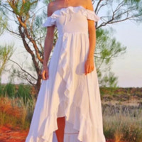Retro white elegant fairy skirt holiday style one-neck dress