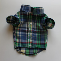 Chihuahua Dog Shirt, XX Small Blue and Green Plaid Designer Pet Puppy Boutique Apparel Clothes