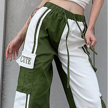 New contrast color stitching letter printing loose fit straight leg pants