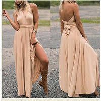 Women's Long Maxi Dress Convertible Wrap Gown Dress Bandage Bridesmaid Dress