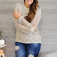 * Gianna Netted L/S Sweater : Olive/White