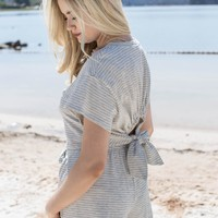 Cal Striped Tie Top, Ivory