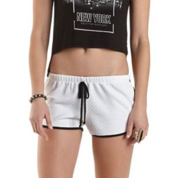 White Combo Two-Tone Drawstring Dolphin Shorts by Charlotte Russe