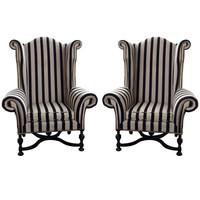 Larry Reilly Collection - a pair of mammoth size wing chairs, 4 available - 1stdibs