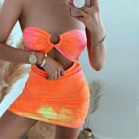 2020 new women's sexy wrapped chest tie dyeing slim slimming buttocks dress