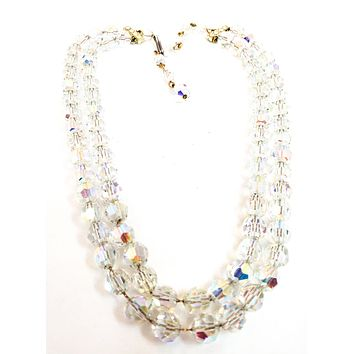 Alice Caviness signed double strand Austrian crystal rhinestone beaded necklace vintage