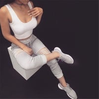 Hot Sale Women's Fashion Stylish Ripped Holes Sports Casual Pants [9839924879]