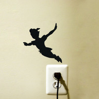 Peter Pan Velvet Silhouette Wall Sticker - Kids Room Wall Art - Disney Wall Decal