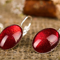 Handmade earrings with cabochons designer jewelry vintage accessories for girls