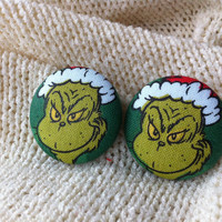 The Naughty Grinch Fabric Button Earrings, Covered Button Earrings, Christmas Earrings, Naughty Santa, Stud Earrings