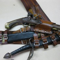 3IN  Brown Leather Pirate Pistol and Sword by Dredmorsplunder