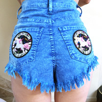 Unicorn Patches Blue cutoff Shorts