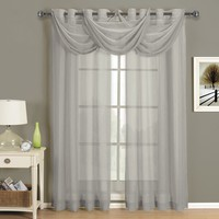 Abri Grey Grommet Crushed Sheer Curtain Panel